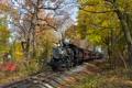 Картинка осень, пейзаж, ретро, рельсы, паровоз, железная дорога, steam
