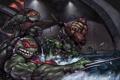 Картинка нунчаки, черепашки, меч, ниндзя, кинжалы сай, Teenage Mutant Ninja Turtles, вода