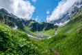 Картинка трава, облака, горы, луг, ущелье, Switzerland