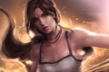 Картинка глаза, Lara Croft, Tomb raider, девушка, капли воды, майка, лицо
