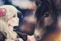 Картинка цветок, аниме, арт, профиль, девушка. лошадь