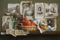 Картинка стена, бокал, картина, арт, полка, фотографии, фрукты