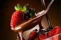 Картинка листья, ягоды, шоколад, клубника, ложка, красные, десерт