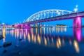Картинка река, фонари, вечер, Нидерланды, огни, Arnhem, берег