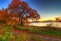 Картинка закат, пейзаж, осень, трава, небо, облаках, озеро