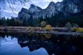 Картинка США, лес, река, вечер, осень, Yosemite National Park, Калифорния