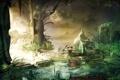 Картинка вода, озеро, заросли, раковина, ракушка, статуя, руины