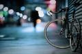 Картинка велосипед, огни, улица, силуэт