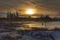 Картинка зима, закат, озеро, лёд