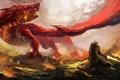 Картинка красный, дракон, войны, арт, ярость, ящер, битва