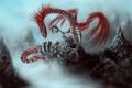 Картинка туман, скалы, дракон