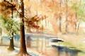 Картинка пейзаж, природа, картина, акварель