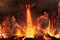 Картинка гнев, пепел, огонь, молнии, вулкан, лава, Арт
