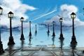 Картинка небо, вода, облака, свет, отражение, арт, фонари