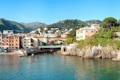 Картинка зелень, горы, мост, город, фото, дома, Италия