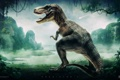 Картинка озеро, динозавр, джунгли, desktopography, лианы