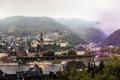 Картинка горы, город, река, фото, дома, Германия, Cochem
