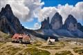 Картинка небо, облака, горы, дом, Италия, Tre Cime Lavaredo, Paterno