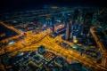 Картинка ночь, огни, дороги, дома, небоскребы, панорама, Дубай