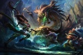 Картинка вода, девушка, скалы, монстр, арт, битва, League Of Legends