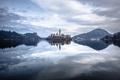 Картинка горы, озеро, остров, дома, церковь, Словения, Блед