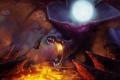 Картинка ночь, скалы, луна, дракон, крылья, меч, воин