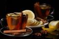 Картинка лимон, чашки, напиток, корица, дольки, блюдца, кожура
