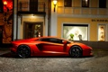 Картинка Авто, Город, Lamborghini, Оранжевый, Здание, вид сбоку, Суперкар