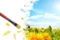 Картинка поле, небо, солнце, облака, цветы, жёлтый, рисунок