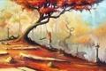 Картинка девушка, деревья, качели, арт, фонари, нарисованный пейзаж