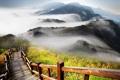 Картинка туман, лестница, перила, сопки