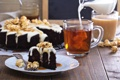 Картинка чай, торт, крем, попкорн