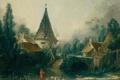 Картинка мост, пруд, дитя, стирка, Boucher, Francois, Landscape Near Beauvais