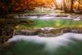 Картинка осень, лес, деревья, река, каскад