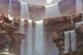 Картинка горы, скалы, водопад, арт, девочка, touhou, moriya suwako