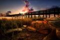 Картинка закат, река, камни, берег, пирс
