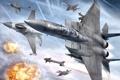 Картинка полет, взрывы, истребитель, самолеты, в небе, Ace Combat 6, Fires of Liberation