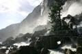Картинка добро, гора, водопад, волуны.мостик, пожаловать