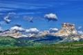 Картинка небо, облака, деревья, горы, долина