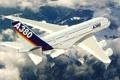 Картинка облака, полет, А380, небо, аэробус