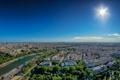 Картинка река, небо, солнце, панорама, Париж, Франция, Сена