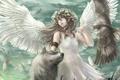 Картинка птица, волк, крылья, ангел, аниме