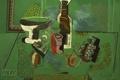 Картинка Green Still Life, натюрморт, обои, абстракция, Pablo Picasso, стол, бутылка