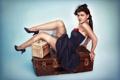 Картинка взгляд, платье, чемодан, шляпка, вуаль