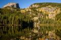 Картинка деревья, горы, озеро, отражение, камни, скалы, США