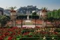 Картинка цветы, Австрия, сад, крепость, клумбы, Austria, Salzburg