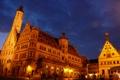 Картинка небо, ночь, огни, часы, дома, Германия, ратуша