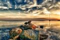 Картинка пейзаж, закат, природа, озеро, камни
