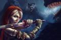 Картинка лес, глаза, девушка, ночь, отражение, меч, арт