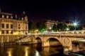 Картинка свет, ночь, мост, город, огни, Франция, Париж